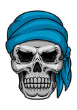 Cranio del pirata in bandana blu Immagine Stock