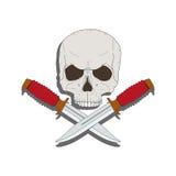 Cranio del pirata con coltelli Fotografia Stock Libera da Diritti