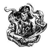 Cranio del pirata con i tentacoli del polipo illustrazione vettoriale