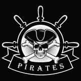 Cranio del pirata con il timone Logo Black Background Vector Illustration della nave e di benda Immagine Stock