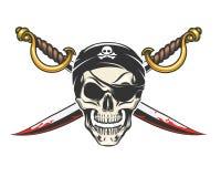 Cranio del pirata con le sciabole attraversate illustrazione vettoriale