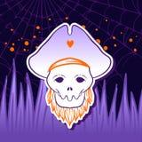 Cranio del pirata di Halloween con il cappello Immagini Stock