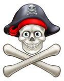 Cranio del pirata e fumetto di tibie incrociate illustrazione di stock