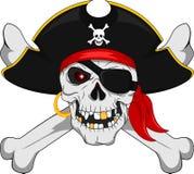 Cranio del pirata ed ossa attraversate illustrazione vettoriale
