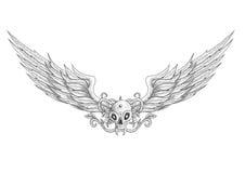Cranio del tatuaggio con l'illustrazione delle ali Fotografia Stock Libera da Diritti