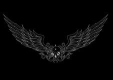 Cranio del tatuaggio con le ali sul nero Fotografie Stock Libere da Diritti