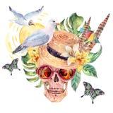 Cranio dell'acquerello del mare di estate, cappello di paglia, gabbiano illustrazione vettoriale