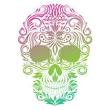 Cranio dell'essere umano dell'ornamento floreale illustrazione di stock