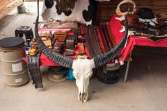 Cranio della Buffalo in un negozio di cuoio thailand fotografia stock