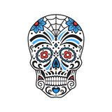 Cranio dello zucchero Tatuaggio variopinto Giorno messicano dei morti Illustrazione di vettore royalty illustrazione gratis