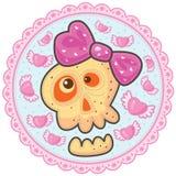 Cranio di amore con l'arco rosa Fotografia Stock
