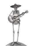 Cranio di arte che gioca giorno della chitarra del festival morto royalty illustrazione gratis