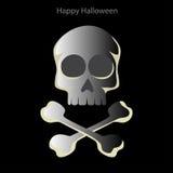 Cranio di Halloween su un fondo nero Fotografia Stock Libera da Diritti