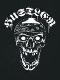 Cranio di lerciume in bandana con tipografia della prostituta illustrazione di stock