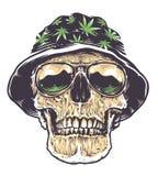 Cranio di Rasta in cappello ed occhiali da sole illustrazione vettoriale