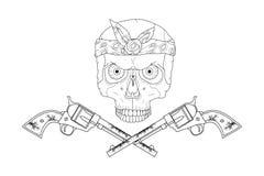 Cranio di stile della via con le pistole Fotografia Stock