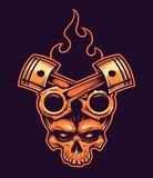 Cranio di vettore con i pistoni ed il fuoco attraversati illustrazione di stock