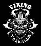 Cranio di Viking con le asce illustrazione vettoriale