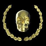 Cranio dorato circondato con le foglie dell'alloro del goldel isolate sulla rappresentazione nera del fondo Fotografia Stock