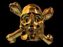 Cranio dorato del pirata Fotografia Stock Libera da Diritti