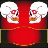 Cranio due su un fondo nero Fotografia Stock Libera da Diritti