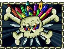 Cranio e crossbone con quarzo ed il coltello multicolori Fotografia Stock Libera da Diritti