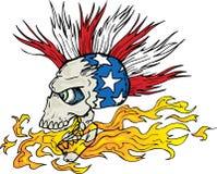 Cranio e fiamme Immagini Stock