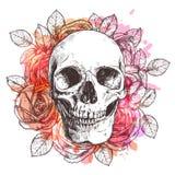 Cranio e fiori Fotografia Stock