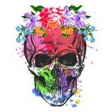 Cranio e fiori Schizzo con effetto dell'acquerello Vettore Immagine Stock