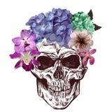 Cranio e fiori Schizzo con effetto di gradazione Vettore Immagine Stock