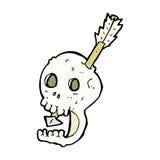 cranio e freccia comici divertenti del fumetto Fotografia Stock