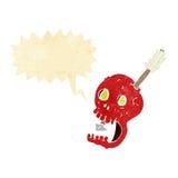 cranio e freccia divertenti del fumetto con il fumetto Fotografie Stock Libere da Diritti