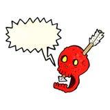 cranio e freccia divertenti del fumetto con il fumetto Immagini Stock