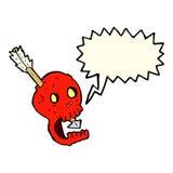 cranio e freccia divertenti del fumetto con il fumetto Immagine Stock