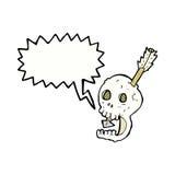 cranio e freccia divertenti del fumetto con il fumetto Fotografia Stock
