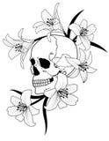 Cranio e giglio illustrazione di stock