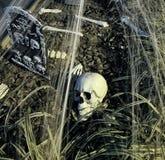 Cranio e lapide di Halloween Fotografie Stock