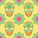 Cranio e Lotus Pattern Immagine Stock