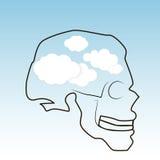 Cranio e nuvole Immagini Stock