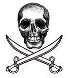 Cranio e spade Immagini Stock
