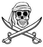 Cranio e spade del pirata Immagini Stock