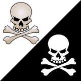 Cranio ed illustrazione attraversata di logo di vettore delle ossa Immagini Stock
