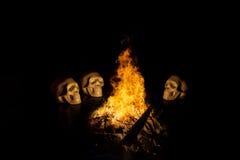 Cranio, fondo di Halloween Fotografia Stock