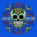 Cranio messicano dello zucchero con il modello floreale, giorno del giorno, elemento di progettazione per il manifesto, illustraz illustrazione vettoriale