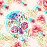 Cranio messicano dello zucchero fra il modello senza cuciture dei fiori royalty illustrazione gratis