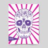 Cranio messicano di schizzo nello stile d'annata Fotografia Stock