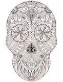 Cranio messicano disegnato a mano dello zucchero con il modello di fiori Arte isolata di vettore per la pagina adulta del libro d illustrazione di stock