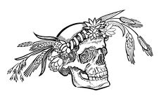 Cranio monocromatico, con la corona del fiore illustrazione di stock