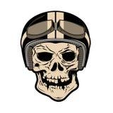 Cranio nel casco del motociclo Progetti l'elemento per il logo, l'etichetta, badg royalty illustrazione gratis