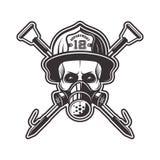Cranio nel vettore del casco del pompiere e del respiratore illustrazione vettoriale